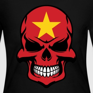 Vietnamese Flag Skull Cool Vietnam Skull - Women's Long Sleeve Jersey T-Shirt