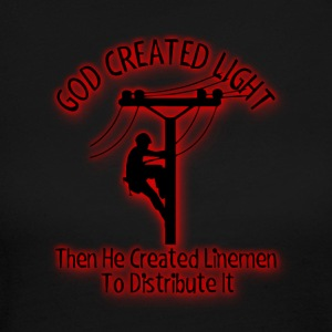 God Created Light - Funny Lineman Bible Design - Women's Long Sleeve Jersey T-Shirt