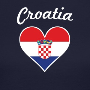 Croatia Flag Heart - Women's Long Sleeve Jersey T-Shirt