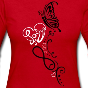 Heart with lettering, butterfly and infinity - Women's Long Sleeve Jersey T-Shirt
