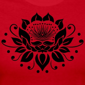 Large lotus flower in tattoo style. - Women's Long Sleeve Jersey T-Shirt