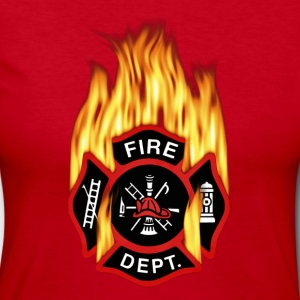 Flaming Red Firefighter Badge - Women's Long Sleeve Jersey T-Shirt