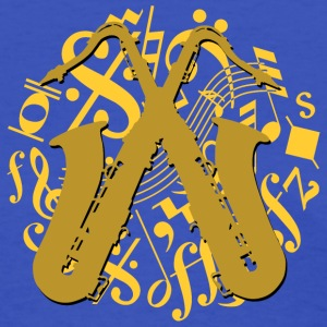 golden saxophones on music notes - Women's T-Shirt