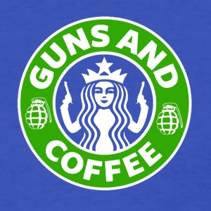 Guns and Coffee - Starbucks satire - Women's T-Shirt