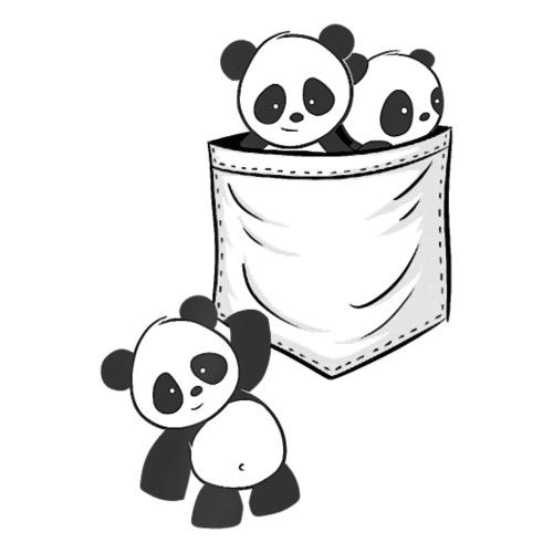 For Panda Lovers Cute Kawaii Baby Pandas In Pocket - Women's T-Shirt