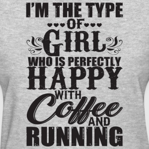 Happy With Coffee And Running T Shirt - Women's T-Shirt