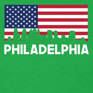 Philadelphia PA American Flag Skyline - Women's T-Shirt