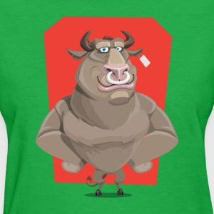 Angry Bull with Nose Piercing Vector Artwork - Women's T-Shirt