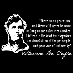There is no peace now, and there will never be peace, so long as one rules over another. I believe in the total disintegration and dissolution of the principle and pratice of authority (Voltairine De Cleyre)
