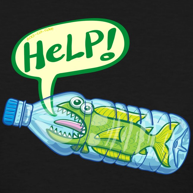 Fish inside a plastic bottle asking for help