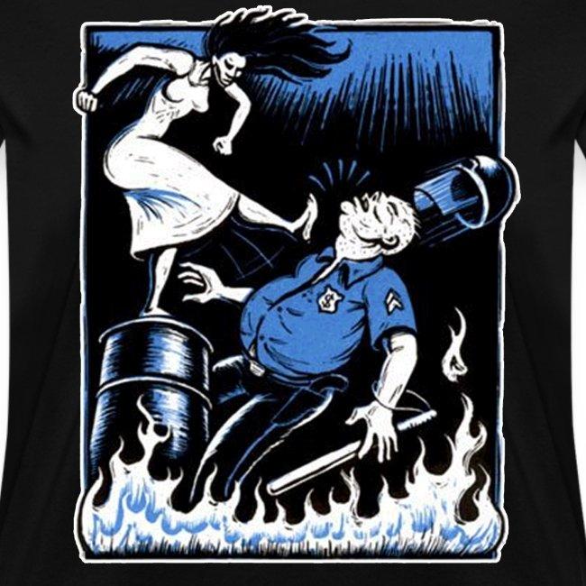 woman kick cop