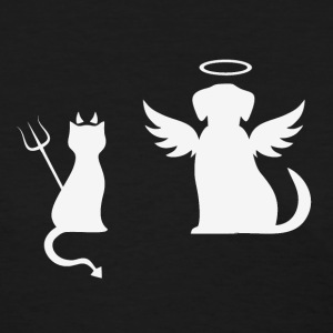 Devilish Cat And Angelic Dog White - Women's T-Shirt