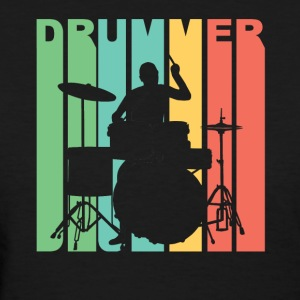 Vintage Style Drummer Silhouette Retro Music - Women's T-Shirt