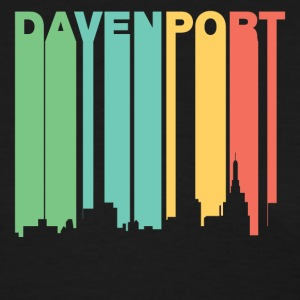 Retro 1970's Style Davenport Iowa Skyline - Women's T-Shirt