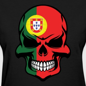 Portuguese Flag Skull Cool Portugal Skull - Women's T-Shirt