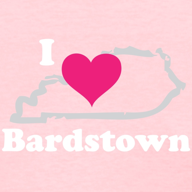 I Heart Bardstown White Lettering Pink Heart