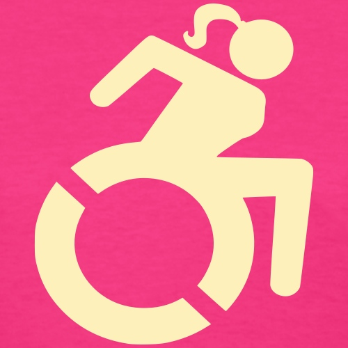 Wheelchair woman symbol. lady in wheelchair - Women's T-Shirt