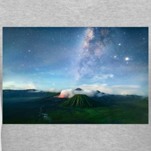 Volcano with the pretty Galaxy - Women's V-Neck T-Shirt