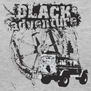 Black adventure with offroad car - Women's V-Neck T-Shirt