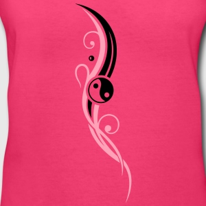 Yin & Yang symbol, Tribal and Tattoo Style. - Women's V-Neck T-Shirt
