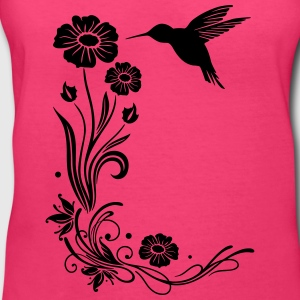 Hummingbird, colibri with hibiscus - Women's V-Neck T-Shirt