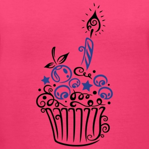Cupcake with fruits and candle. - Women's V-Neck T-Shirt
