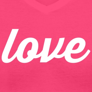 Love - Cursive Design (White Letters) - Women's V-Neck T-Shirt