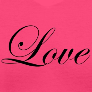 Love - Fancy Cursive Design (Black Letters) - Women's V-Neck T-Shirt