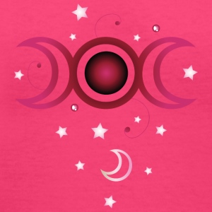 Triple moon with stars, pink. - Women's V-Neck T-Shirt