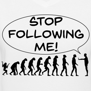 The Flight of Man - Stop Following Me! - Women's V-Neck T-Shirt