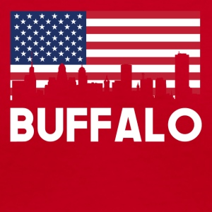 Buffalo NY American Flag Skyline - Women's V-Neck T-Shirt
