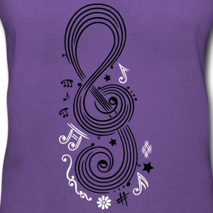 Big Clef with music notes - Women's V-Neck T-Shirt