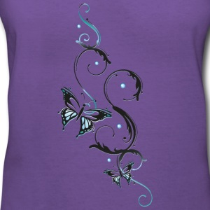 Filigree butterfly in blue and black - Women's V-Neck T-Shirt