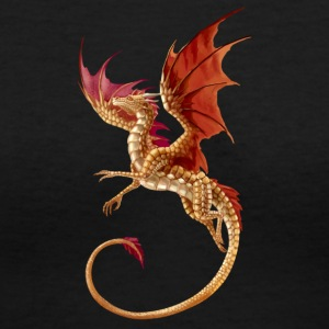 flying golden dragon - Women's V-Neck T-Shirt