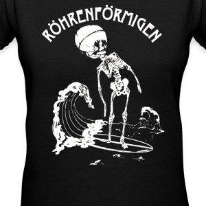 Tubular Surfing Skeleton Surfer Small - Women's V-Neck T-Shirt