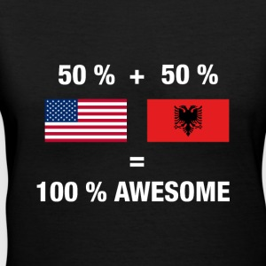 Half Albanian Half American 100% Awesome Flag Alba - Women's V-Neck T-Shirt