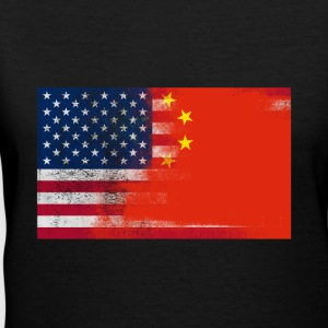 Chinese American Half China Half America Flag Shir - Women's V-Neck T-Shirt