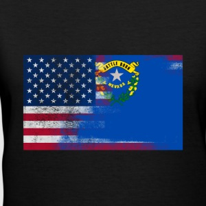 Nevada American Flag Fusion - Women's V-Neck T-Shirt
