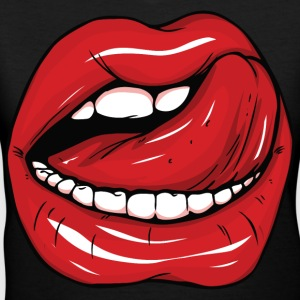 Sexy red lips and tongue - Women's V-Neck T-Shirt