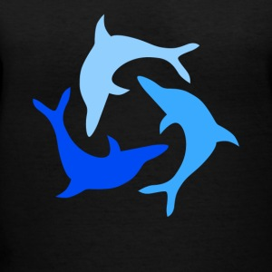 Three Dolphins Tee Shirt - Women's V-Neck T-Shirt