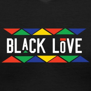 Black Love (White Letters) - Women's V-Neck T-Shirt