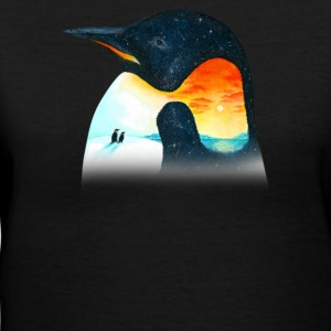 Penguin Sunset - Women's V-Neck T-Shirt