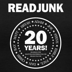 ReadJunk.com 20th Anniversary (white) - Women's V-Neck T-Shirt