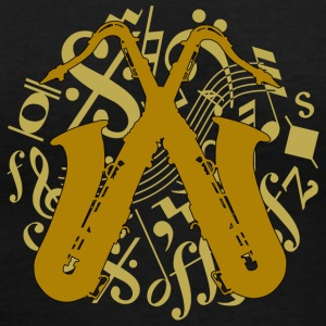 crossed saxophones on music notes - Women's V-Neck T-Shirt