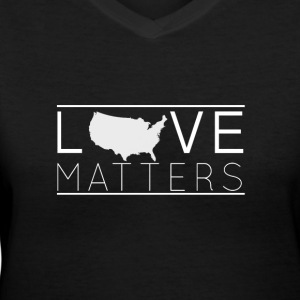 Love Matters - (white) - Women's V-Neck T-Shirt