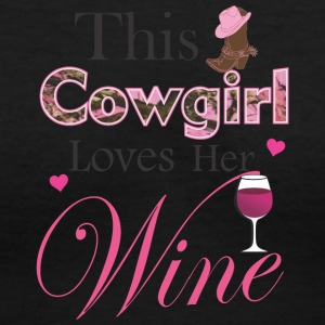 Cowgirl Loves Her Wine T Shirt - Women's V-Neck T-Shirt