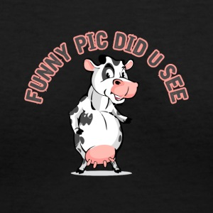 Funny Pic did U See Lil' Moo - Women's V-Neck T-Shirt