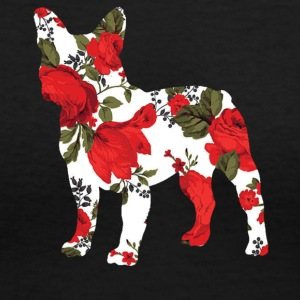 French Bulldog Roses Shirt - Women's V-Neck T-Shirt