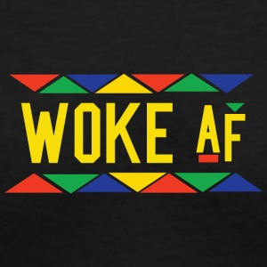 Woke af - Tribal Design (Yellow Letters) - Women's V-Neck T-Shirt