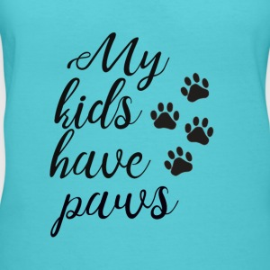 My Kids have paws - Women's V-Neck T-Shirt